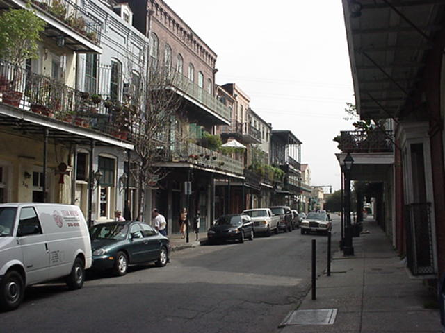NOLA street.jpg: A quiet street in the French Quarter. This week, the Mardi Gras will shatter the solitude.